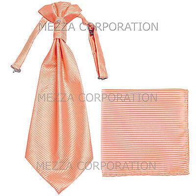 New Vesuvio Napoli Men/'s Polyester Ascot Cravat Necktie Hankie Paisley Peach