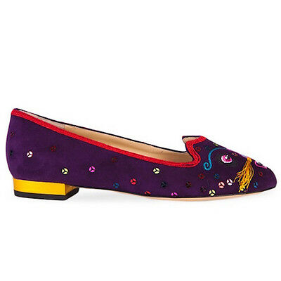 Charlotte Olympia Suede QIQI Flats - Size 7.5 / 38