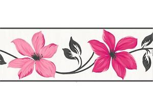 Pink Floral Wallpaper Border Charcoal Cream Metallic Flowers Fine
