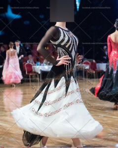 B7404-Ballroom-swing-Tango-Waltz-dance-Competition-dress-us-6-white-black