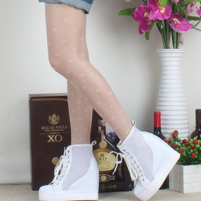 Para Mujer Casual de malla Cuña Oculta Tacón Deportivos Alto Zapatos Con Cordones Tenis Deportivos Tacón A1009 e4f795