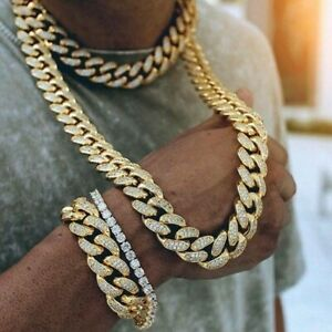 Cuban-Link-Chain-Miami-Hip-Hop-Kette-Gold-Silber-45-77cm-ICED-OUT