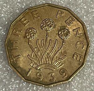 High Lustrous Grade - 1939 Great Britain Threepence 3d - George VI  #84 - Scarce