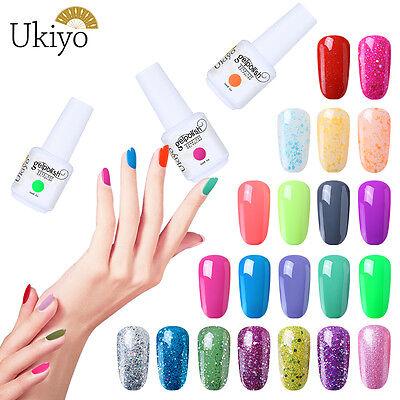 Ukiyo 15ML Soak Off UV LED Gel Polish Candy Color Glitter No Wipe Top Base Coat