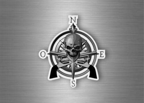 Sticker car motorcycle skull compass nautical boat sailing anchor biker gun