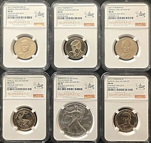 2015-ANNUAL-DOLLAR-COIN-SET-6-COIN-SET-BURNISHED-SILVER-EAGLE-MS70-NICE