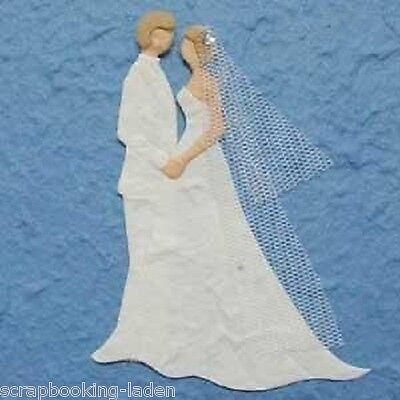 2 x Brautpaar ganz weiß 9 cm Hochzeit Scrapbooking Basteln
