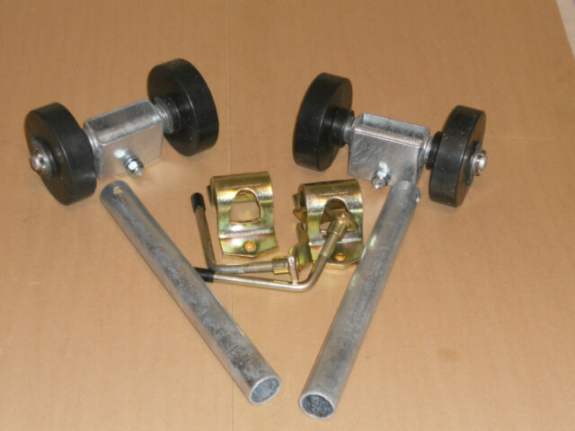 Boat Trailer Parts - 2 x Single Dumbbell Side Rollers, Stems & Clamps Galvanized
