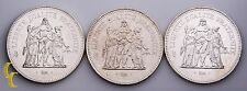 1974-1979 France 50 Francs 3 pc Lot (BU) Brilliant Uncirculated Condition