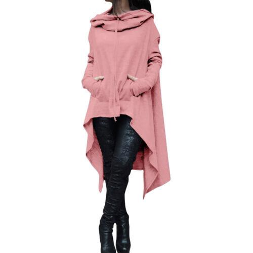 Women Ladies Loose Hoodie Long Hooded Sweatshirt Sweater Asymmetric Blouses Tops