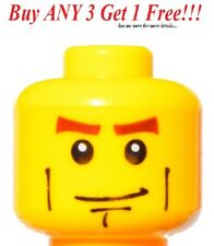 ☀️NEW Lego Minifigure Head Brown Eyebrows and Freckles Open Smile White pupil