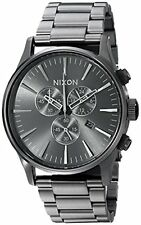 New Authentic NIXON Watch Mens the Sentry CHRONO All Gunmetal  A386-632 A386632