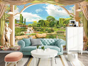 Details About 3D Terrace Overlooking The Garden Self Adhesive Bedroom Wall  Murals Wallpaper