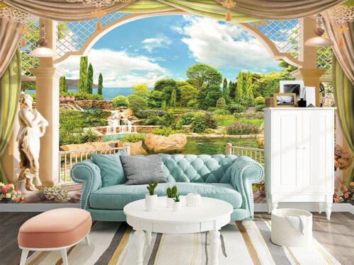3D Terrace Overlooking the Garden Self-adhesive Bedroom Wall Murals Wallpaper