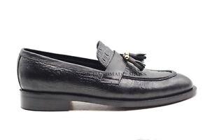 Chaussures à la main en cuir noir à glissière sur glands pour mocassins