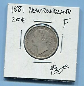 NEWFOUNDLAND-BEAUTIFUL-HISTORICAL-SCARCE-QV-SILVER-20-CENTS-1881-KM-4