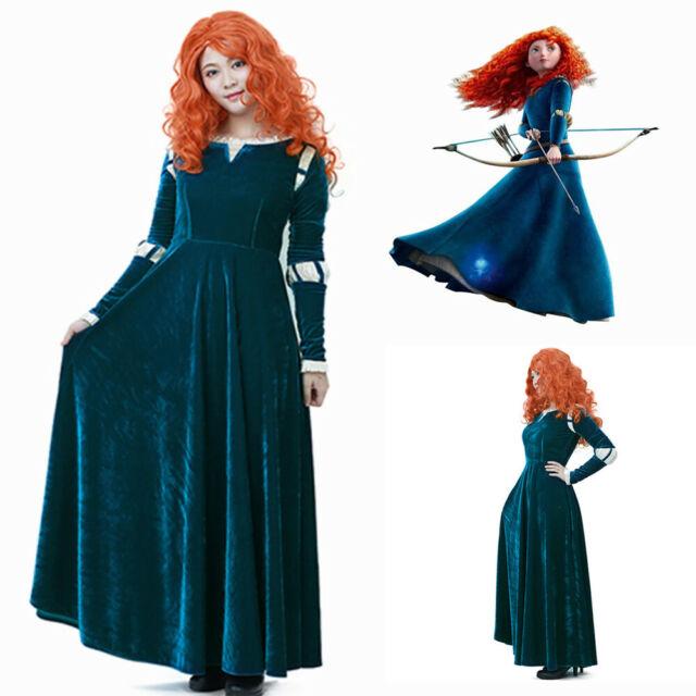 New Film Brave Merida Adult Ladies Costume Princess Dress female Garment Cosplay