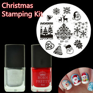 Image Is Loading 3pcs Set Christmas Nail Art Stamping Polish Born