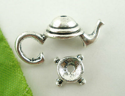 10Sets Silver Tone Teapot Bead Cap Set Findings 21x9mm