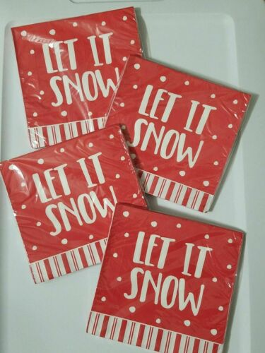 LET IT SNOW Christmas Holiday Paper Party Napkins 16 Ct x4 Decorations Red White