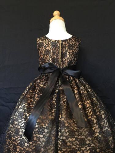 Black Lace Girls Christmas Dress Flower Girl Floral Vintage Christmas Holiday#34