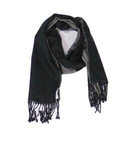 Calvin Klein Mens Scarf Deep Black Gray One Size Fringe Logo Knitted $39 #226