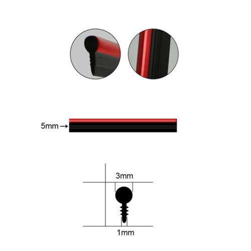 Red 5M Car DIY Interior Decor Door Sticker Moulding Styling Strip Trim Line