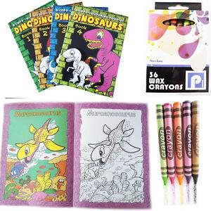 A4-Colouring-Book-DINOSAUR-Kids-Child-Fun-Activity-Wax-Crayon-School-Learning