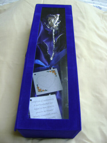 BIRTHDAY WEDDING GIFT 11Inch Real Rose Dipped in Silver in Handcrafted Box NEW