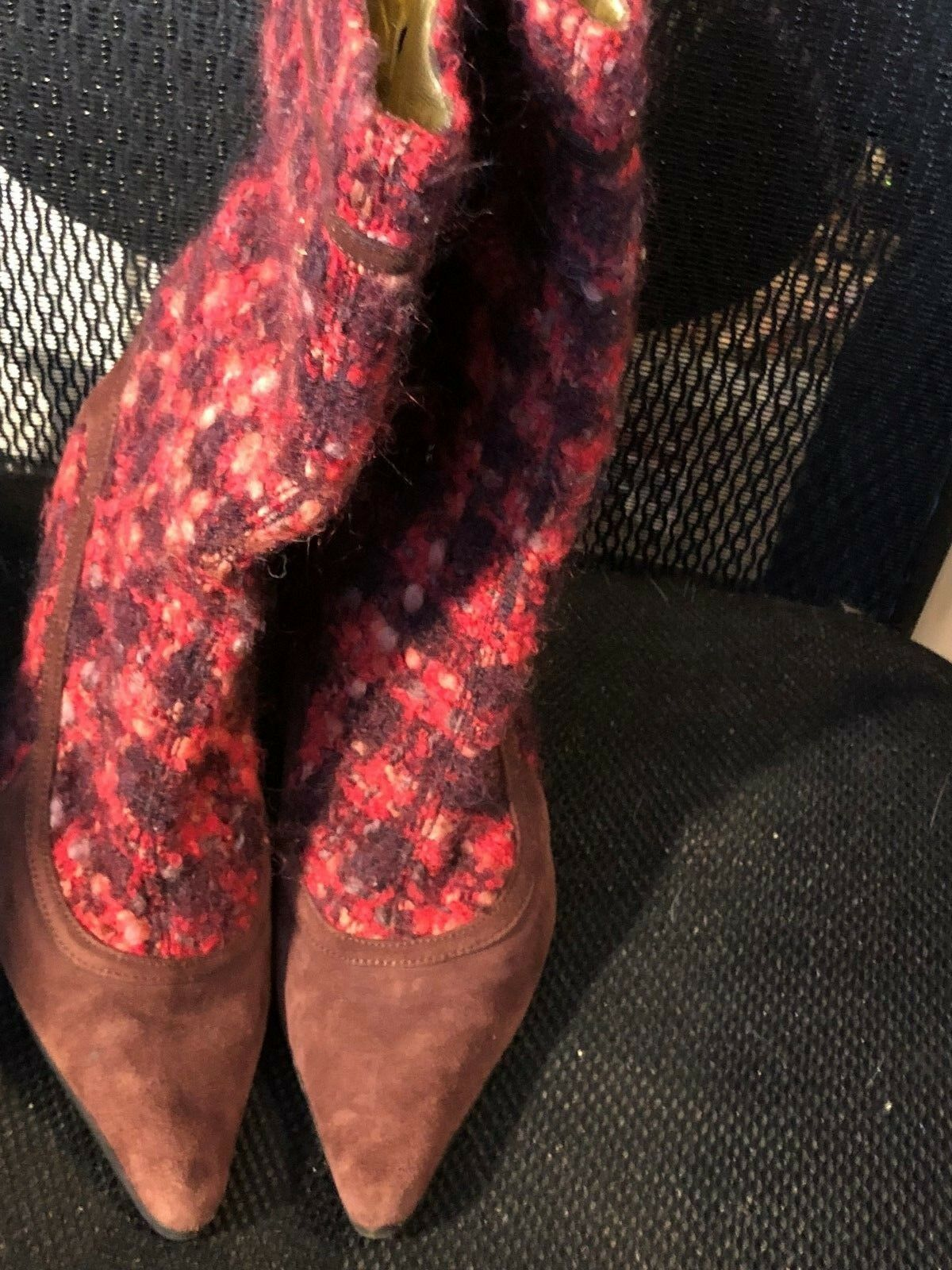 Boots, DOLCE & CABBANA, red tweed/choc brn suede, 4