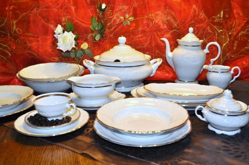 - café y pizarra Service 12 personas 70 piezas de porcelana vajilla de oro campestre