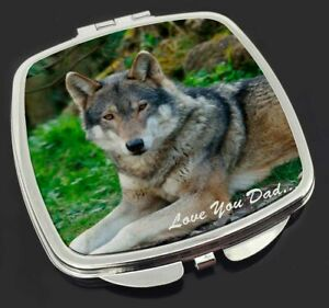 Wolf 'Love You Dad' Make-Up Compact Mirror Birthday Gift Idea, DAD-153CM
