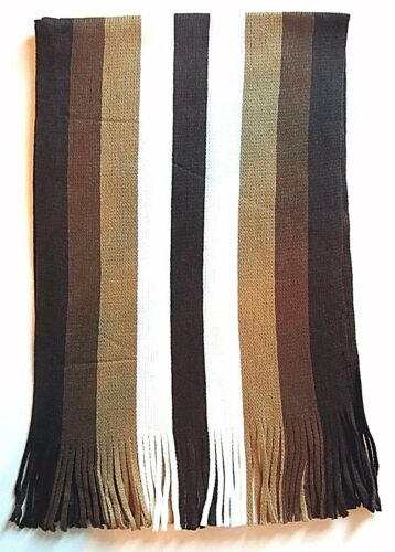 New Winter Men Knit Striped Fringe Scarf 3 Colors