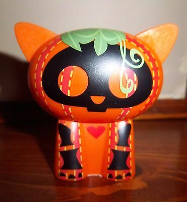 Skelanimalsl Halloween Pumpkin Kitty Cat Plastic Toy Decor Skeleton Figure