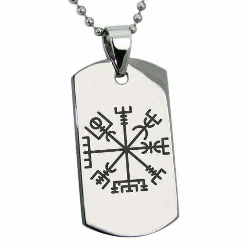 Stainless Steel Vegvisir Viking Compass Symbol Mens Dog Tag Necklace or Keychain