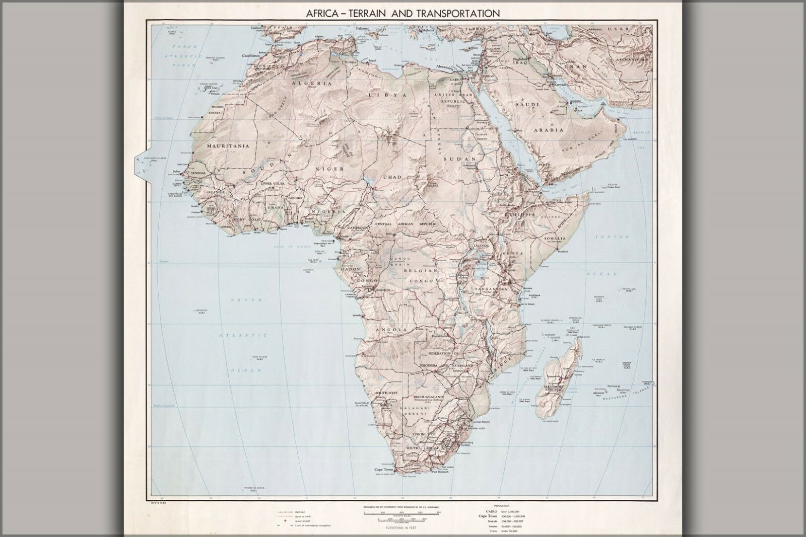 Poster, Many Größes; Cia Map Of Africa, Terrain 1959