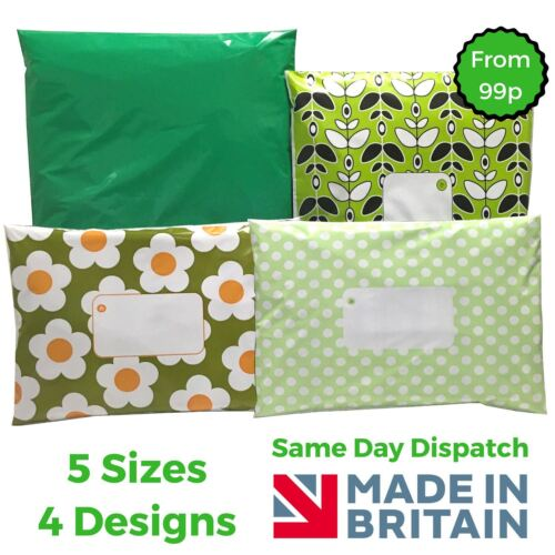 Daisy GREEN Post Plastic Mailing Bags Packaging Postage Coloured Polka Dot