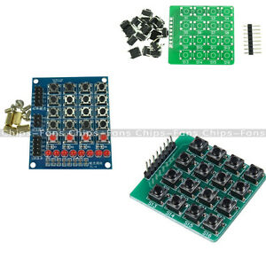014014ab0b4 4x4 Keypad Matrix Keyboard Module 16 Buttons Mcu LED For Arduino DIY ...