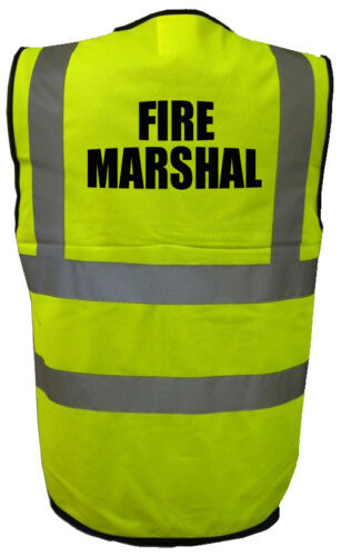 High Visibility Hi Viz Safety Vest FIRE MARSHAL Waistcoat Workforce uniform