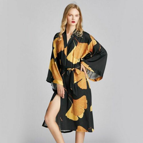 Details about  /New fashion casual ladies mid-length robe and bathrobe home service large size