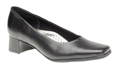 Mod Comfys Tara Womens//Ladies Plain Black Leather Low Block Heel Court Shoes