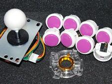 Set of 8 pcs Japan Sanwa Mix White Violet Buttons & Joystick & GT-Y & Wire Parts
