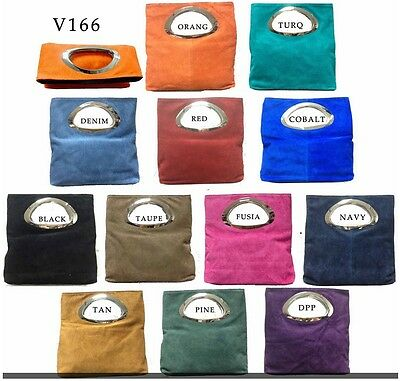 Ladies Real Italian Suede Leather Clutch Evening Party Women Handbag Tote Bags