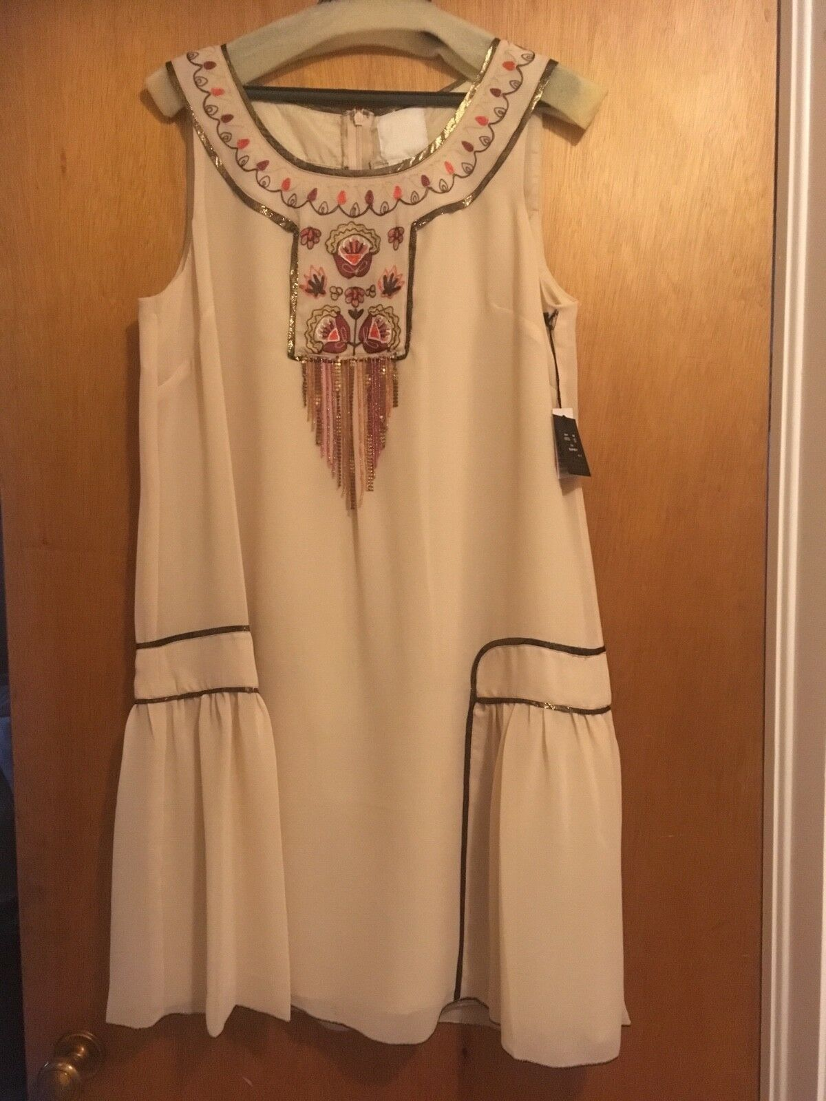 ANNA SUI for ANTHROPOLOGIE HIAWATHA DRESS Embroidered Beaded Folk Trend 12