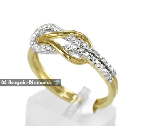 diamond .16 carats 10K gold love knot weave promise ring strength together