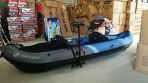 inflatable-KAYAK-sevylor-2-person-colorado-canoe-motor-paddles