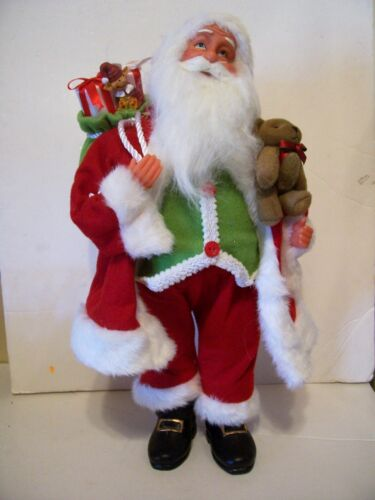 STANDING WHIMSICAL SANTA  WITH BEAR AND PRESENTS DECORATION CHRISTMAS HOLIDAY