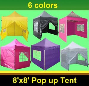 Image is loading 8-039-x8-039-Pop-Up-Canopy-Folding-  sc 1 st  eBay & 8u0027x8u0027 Pop Up Canopy Folding Party Tent - 6 Colors Available | eBay