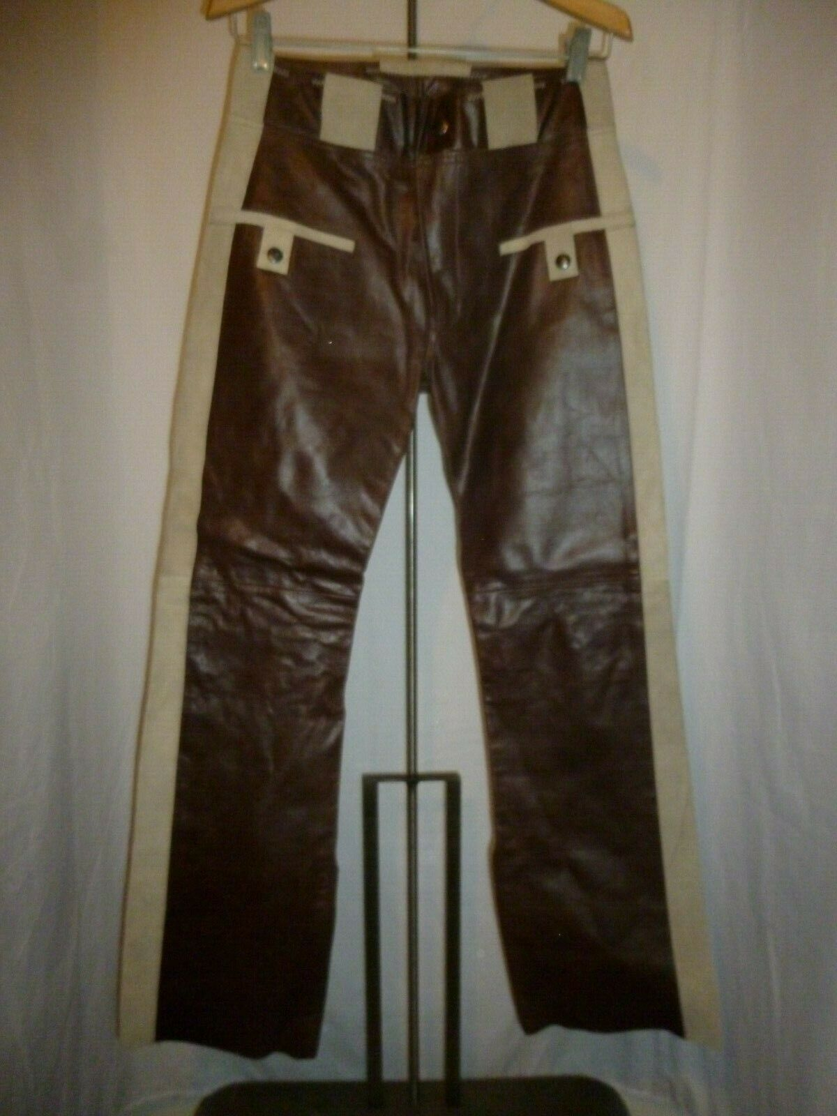 NWT Vintage Diesel Leather  Muskrate  Pants Biker SZ 26 x 30