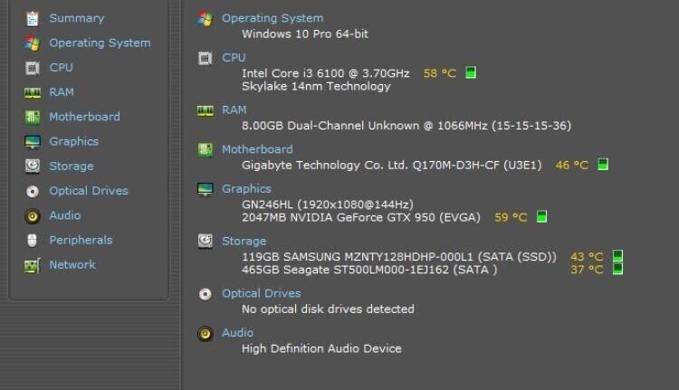 Selvbyg, Intel Core i3 6100 Ghz, 8GB GB ram